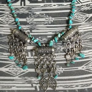 Jewelry - Tibetan silver and turquoise boho necklace